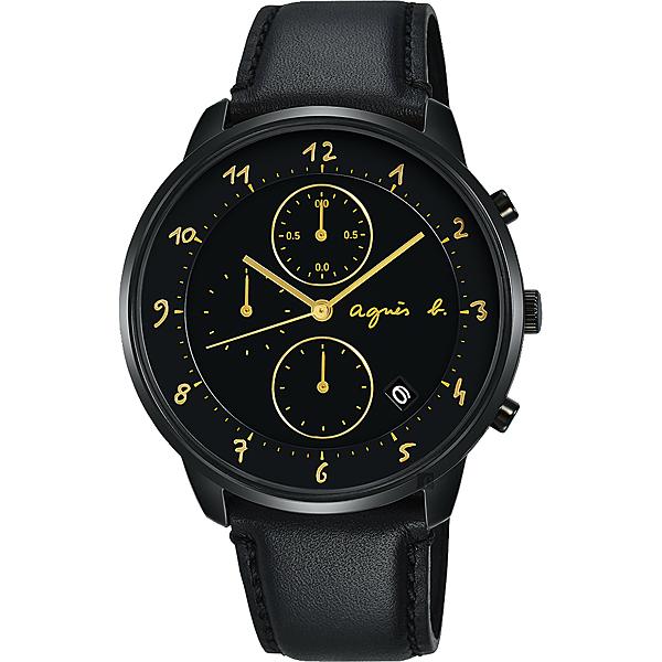agnes b. 法國時尚三眼計時手錶-黑/40mm VD57-KY30K(BM3024J1)