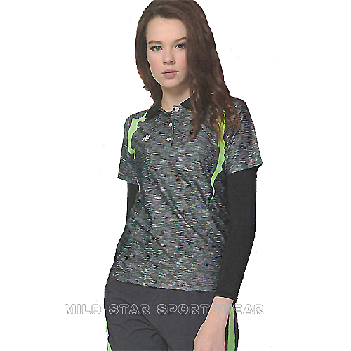 MILD STAR 女版吸濕排汗印花圖騰短POLO衫-深灰#LS900699