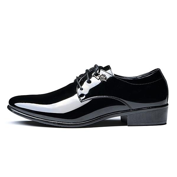 潮流男士韓版尖頭皮鞋 英倫增高發型師夜店漆皮鞋 萬客居