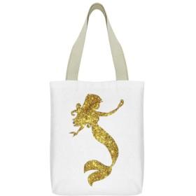 ゴールドマーメイドキャンバストートバッグジッパー大容量ポケットショッピングバッグレディースハンドバッグ