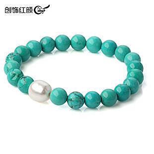 綠松石手鏈 搭配白珍珠 女款 新年禮物