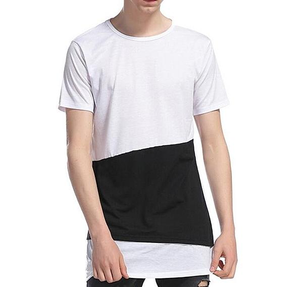 找到自己 MD 時尚 男 歐美 長款 不規則 撞色 大碼 休閒 短袖T恤 特色短T