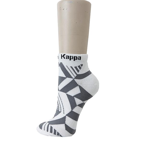 KAPPA時尚休閒型男短筒襪~4雙 薄底 白 新中灰