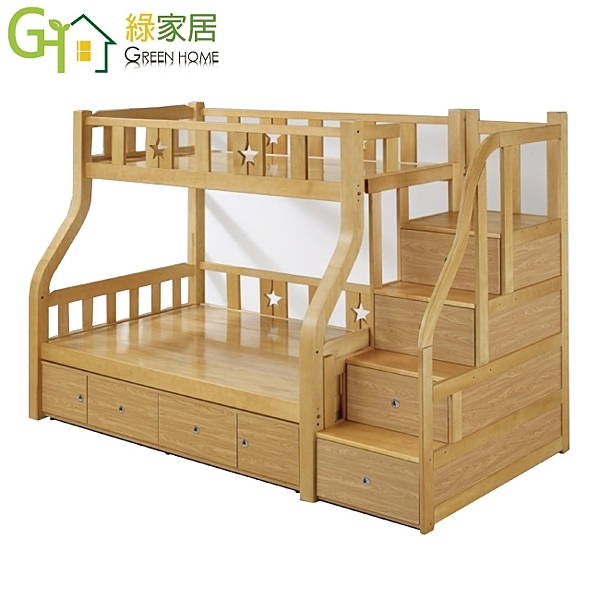 【綠家居】麥戈 時尚3.5尺實木單人雙層床台組合(含四抽收納櫃+四抽屜階梯櫃)