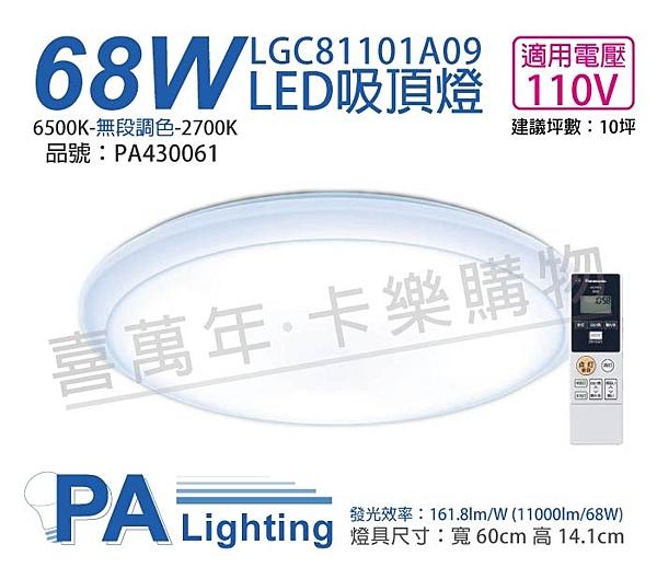 Panasonic國際牌 LGC81101A09 LED 68W 110V 厚層無框 調光調色 遙控吸頂燈 _ PA430061