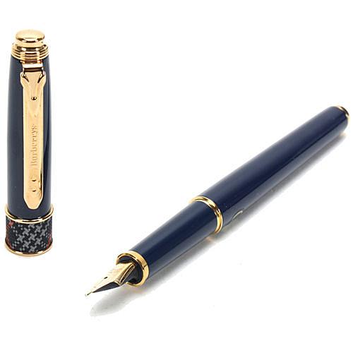 BURBERRY經典格紋點綴14K金M筆尖鋼筆(深藍色)086005-5