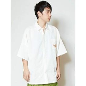 [チャイハネ] 【チャイハネ】インド綿サッカー生地MEN'Sシャツ IDS-9201 FREE ホワイト