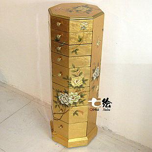 田園中式漆器金箔 手繪 臥室柱首飾櫃