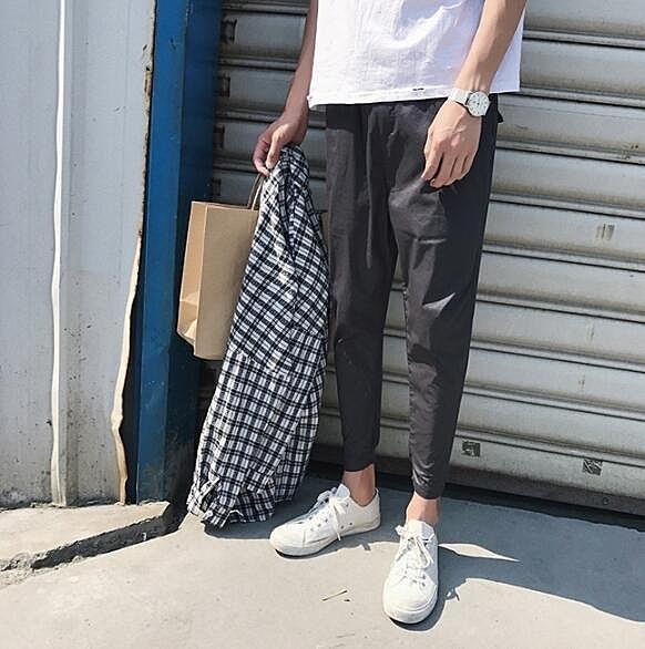 找到自己 MD 韓國 時尚潮 男 休閒 修身 光滑面料 束腳 休閒長褲 九分褲 小腳褲