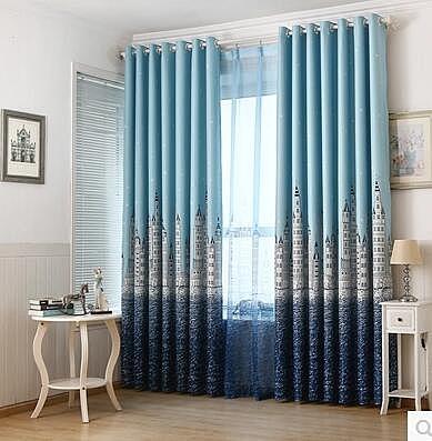 食尚玩家   成品窗簾地中海城堡客廳隔熱全遮光短簾    寬130cm高200cm  支持定制