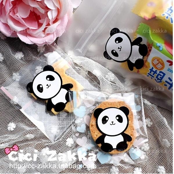 8入 熊貓封口貼 卡通貼紙 包裝貼紙【A018】 禮品貼紙 封口 裝飾 禮物黏口卡片 包裝 糖果餅乾貼