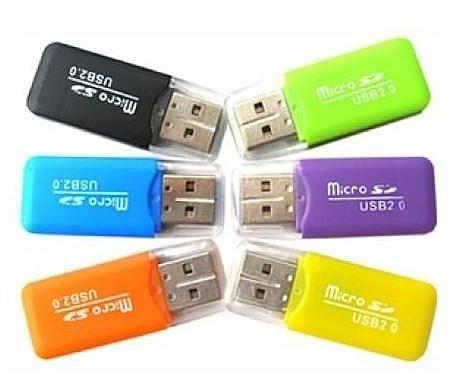 糖果色USB讀卡機TF卡/MICROSD卡/手機記憶卡讀卡/ 隨機出貨 19元