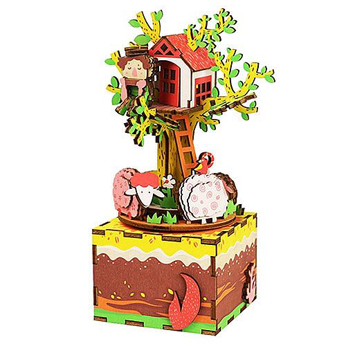 《 Robotime  》3D木製拼圖 - AM408音樂盒系列樹屋╭★ JOYBUS玩具百貨