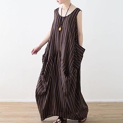 洋裝-長款寬版文藝休閒條紋無袖女連身裙73sm21【巴黎精品】