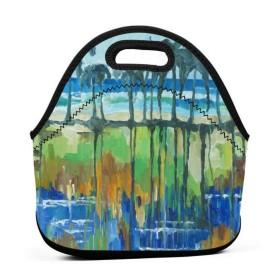 水彩パームファンタジーランチバッグ、厚手の断熱ランチボックスバッグ、ジッパー閉鎖子供旅行ピクニックオフィス用トートボックス