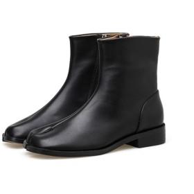 [VALER] ブーツ レディース ショートブーツ ブーティ ローヒール ぺたんこ ペタンコ フラット くろ 痛くない 歩きやすい 軽量 ヒール 秋冬 大きいサイズ 小さいサイズ 22.5cm ブラック
