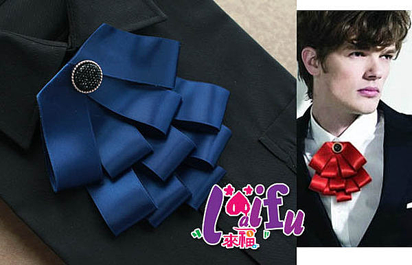 *來福妹*Y32平頭超多層次胸針胸花結婚新郎領結表演,售價290元