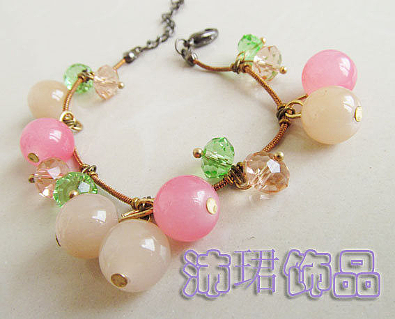 飾品粉色櫻桃可愛陶瓷珠純手工特制波西米亞風格推薦