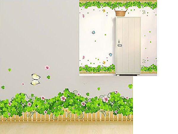 可移動 時尚組合相框壁貼 牆貼 壁貼紙 創意璧貼 綠 幸運草花圃【YV2883】BO雜貨