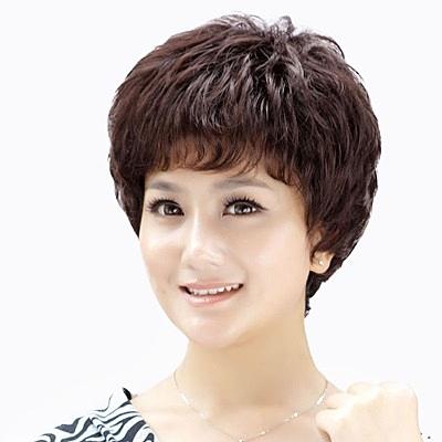 短假髮(真髮)-蓬鬆捲髮自然熟齡女假髮73uu17[時尚巴黎]