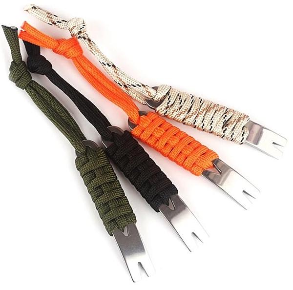 撬棍【SG460】戶外小工具 口袋版不銹鋼多功能迷你EDC撬棍 傘繩手柄刮刀起釘器