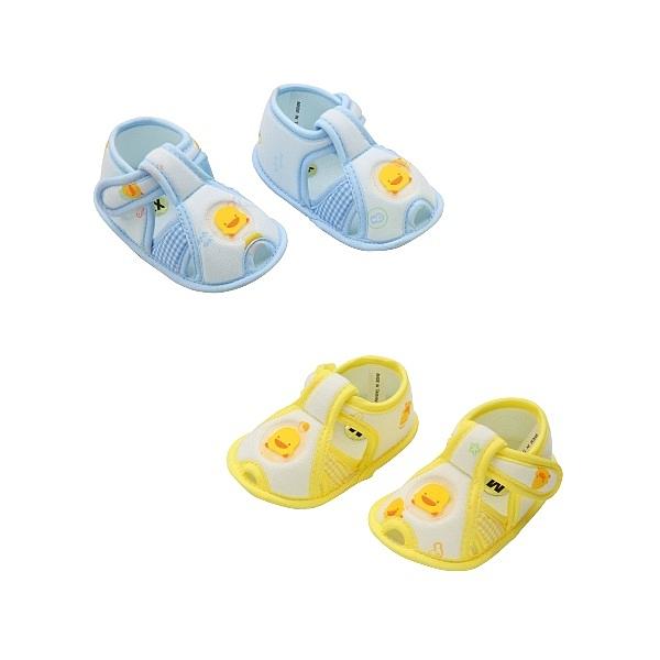 【愛吾兒】黃色小鴨 PiYo 格狀嬰兒學步涼鞋-藍/黃