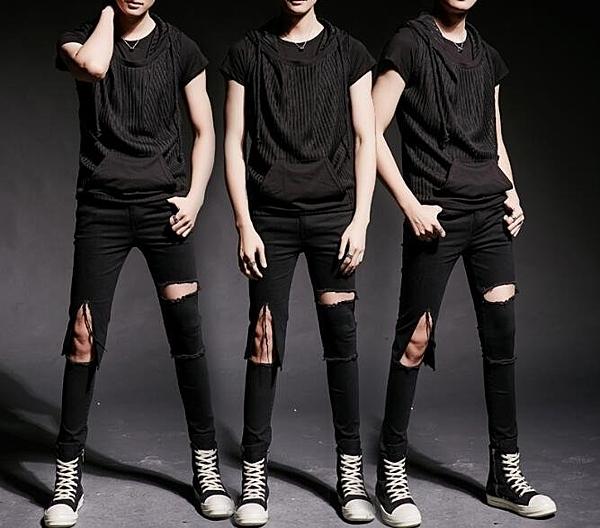 找到自己 MD 韓國 潮 男 街頭 夜店 髮型師 修身 連帽口袋短T 套裝 上衣+破洞牛仔褲 特色短T
