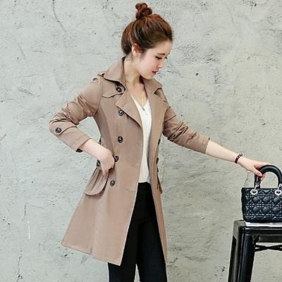 翻領大衣-時尚氣質雙排扣中長款女風衣外套2色73iz72【時尚巴黎】