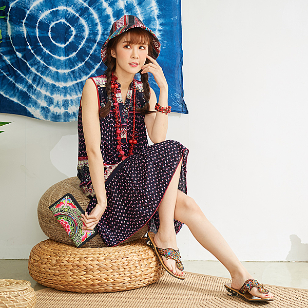 【潘克拉】花卉印花涼感背心裙 TM1066 FREE藍色