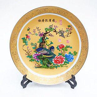景德鎮陶瓷家居裝飾 金邊25cm盤子牡丹孔雀圖