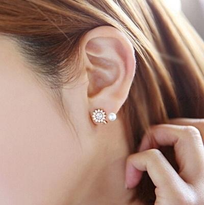 925純銀耳環 珍珠(耳針式)-鑲鑽生日母親節禮物女飾品3色73ag289【巴黎精品】