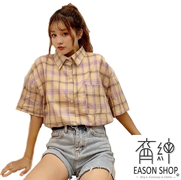 EASON SHOP(GW2554)實拍簡約撞色格紋前短後長長版薄款單口袋短袖襯衫女上衣服寬鬆