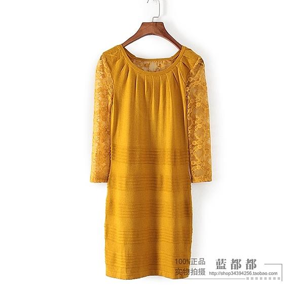 [超豐國際]香春秋裝女裝黃色蕾絲袖長款毛衣氣質連衣裙 095(1入)