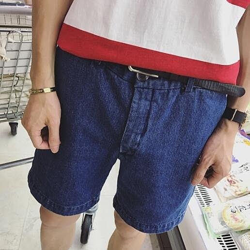 找到自己 MD 日系 時尚潮 男 復古 百搭 顯瘦 深藍色 牛仔短褲 休閒短褲 五分褲 沙灘短褲