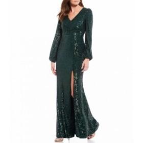エックススケープ Xscape レディース パーティードレス Vネック ワンピース・ドレス sequin v-neck front slit long sleeve gown Hunter