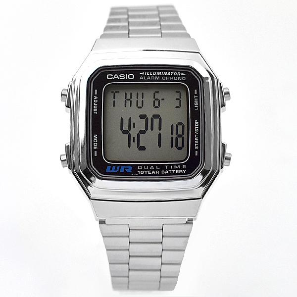 CASIO手錶銀黑色電子鋼錶NEC149