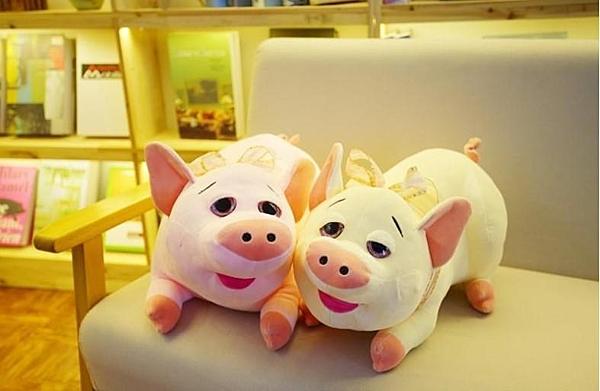 【50公分】貪吃豬抱枕 情侶豬玩偶 絨毛娃娃 過年拜拜仿真道具 豬年吉祥物 聖誕節交換禮物