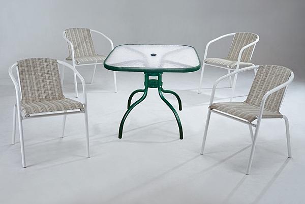 HY-830-4   休閒蘋果椅-米白網-白管-單台-不含桌子