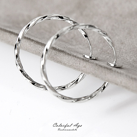 耳夾 精緻雕紋圈圈夾式耳環 柒彩年代【ND372】