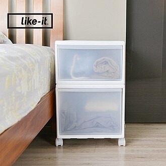 【日本like-it】UNI-COM自由疊砌抽屜附輪收納櫃(2入組)(1高1低)-寬34cm