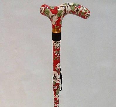 【海夫健康生活館】四腳安全輕合金折疊式全花手杖