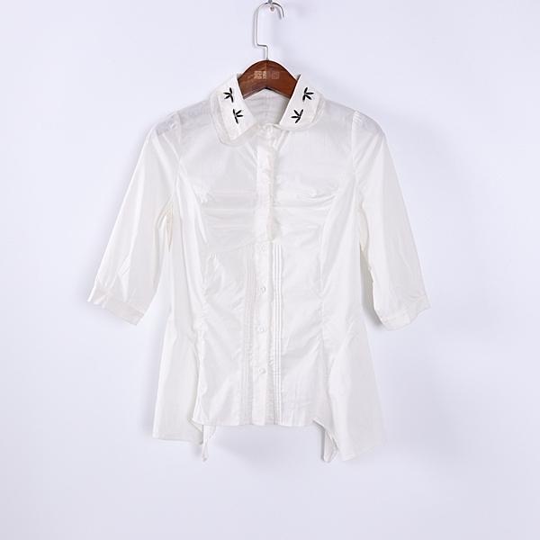 [超豐國際]情春夏裝女裝白色甜美百搭短袖襯衫 散87957(1入)
