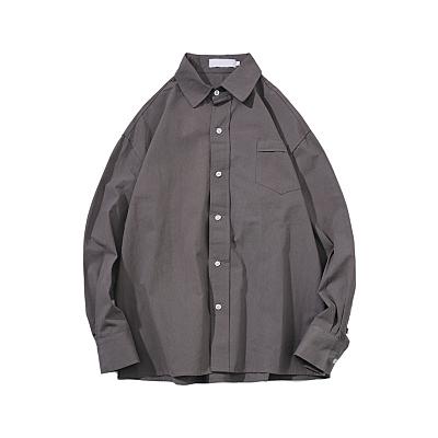 快速出貨 @港仔文藝男 港風潮流寬鬆男士長袖襯衫 百搭學生襯衣