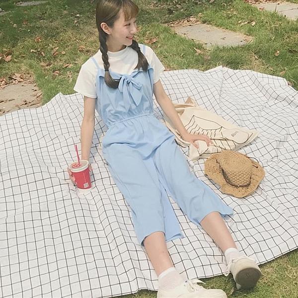 [超豐國際]夏季學院風女學生甜美軟妹清新七分闊腿褲高腰顯瘦背1入
