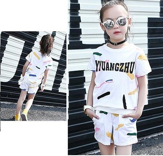 超低折扣NG商品~中大童短袖套裝 塗鴉短袖上衣T恤+短褲二件式 春夏童裝 MC20220 好娃娃