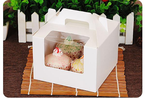 4格 開窗 純白無印手提盒 馬芬瑪芬盒【C049】杯子蛋糕盒 慕斯奶酪 月餅盒 包裝盒 禮盒 蛋塔盒