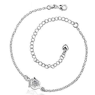 腳鍊 鑲鑽925純銀銀飾-流行獨特生日情人節禮物女飾品4色73ci30【時尚巴黎】
