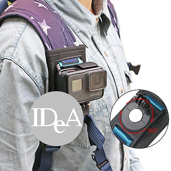 IDEA GoPro背包夾 360度 旋轉式 魔鬼氈 戶外運動 攝影 相機 記錄 hero 7 6 5 4