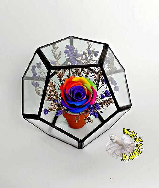 [幾何玻璃屋+香皂花+乾燥花] 婚禮小物 開幕喬遷開店賀禮 生日禮物 畢業禮物