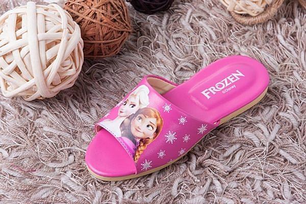 【蘿亞家居】迪士尼FROZEN冰雪奇緣大人兒童室內拖鞋(安娜艾莎桃紅色一雙)